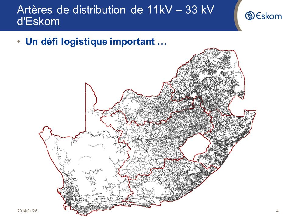 Artères de distribution de 11kV – 33 kV d Eskom