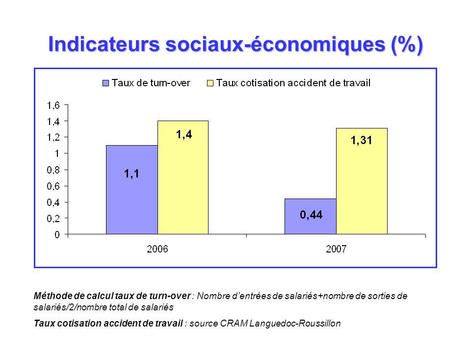 Indicateurs sociaux-économiques (%)