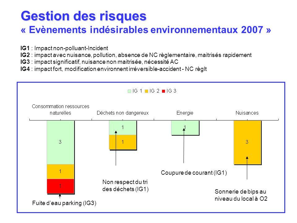 Gestion des risques « Evènements indésirables environnementaux 2007 »