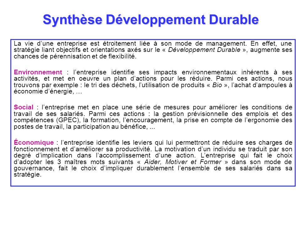 Synthèse Développement Durable