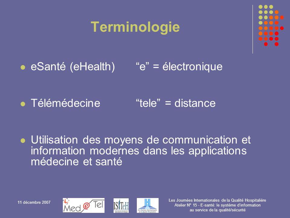 Terminologie eSanté (eHealth) e = électronique