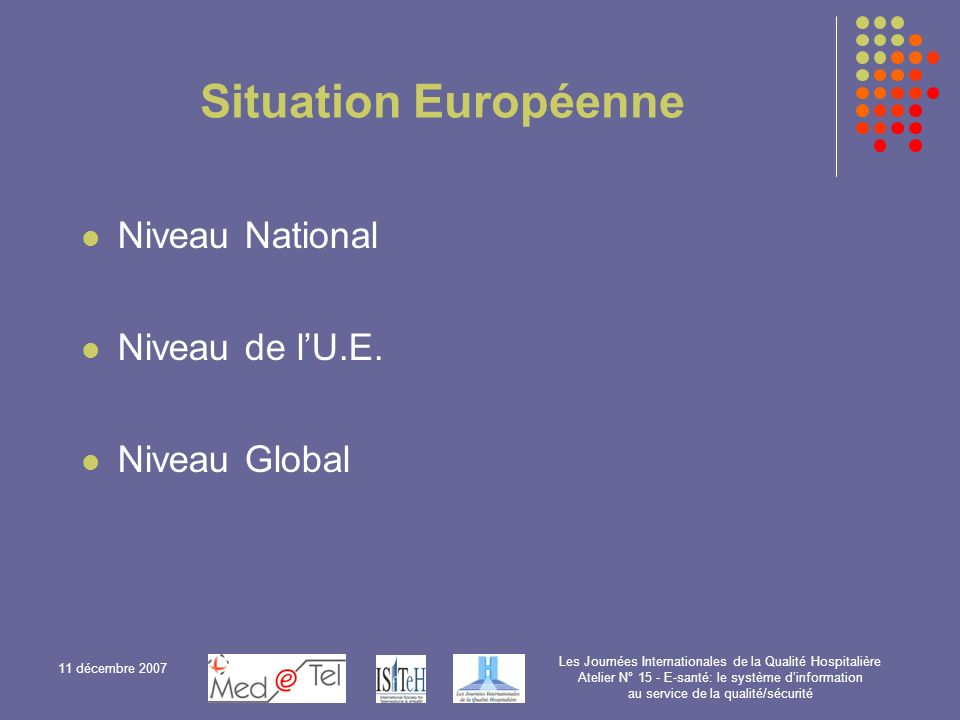 Situation Européenne Niveau National Niveau de l'U.E. Niveau Global
