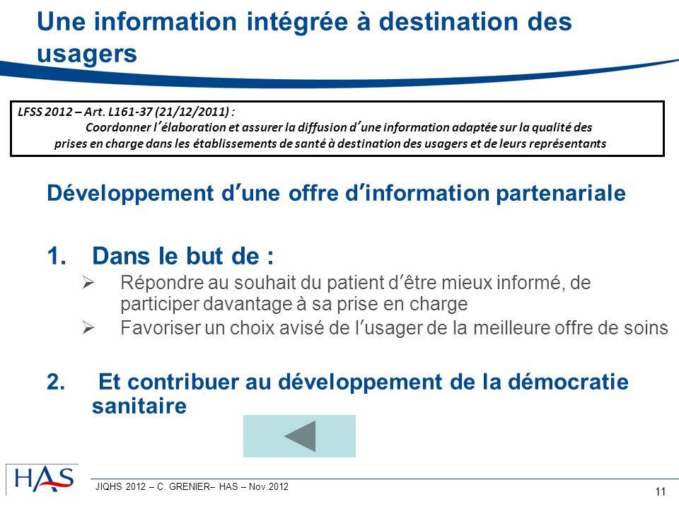 Une information intégrée à destination des usagers