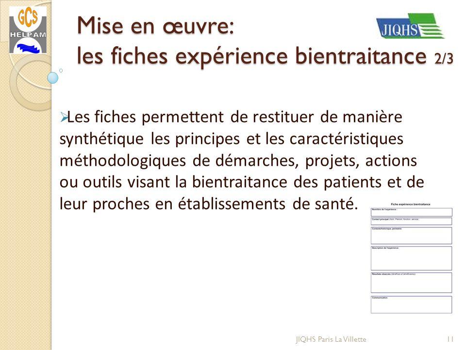 Mise en œuvre: les fiches expérience bientraitance 2/3