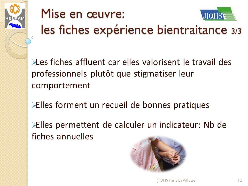 Mise en œuvre: les fiches expérience bientraitance 3/3