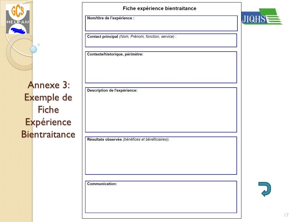 Annexe 3: Exemple de Fiche Expérience Bientraitance