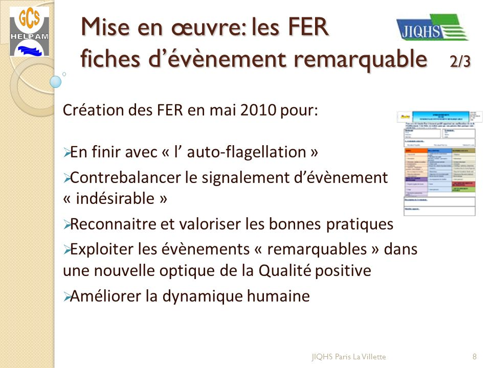 Mise en œuvre: les FER fiches d'évènement remarquable 2/3