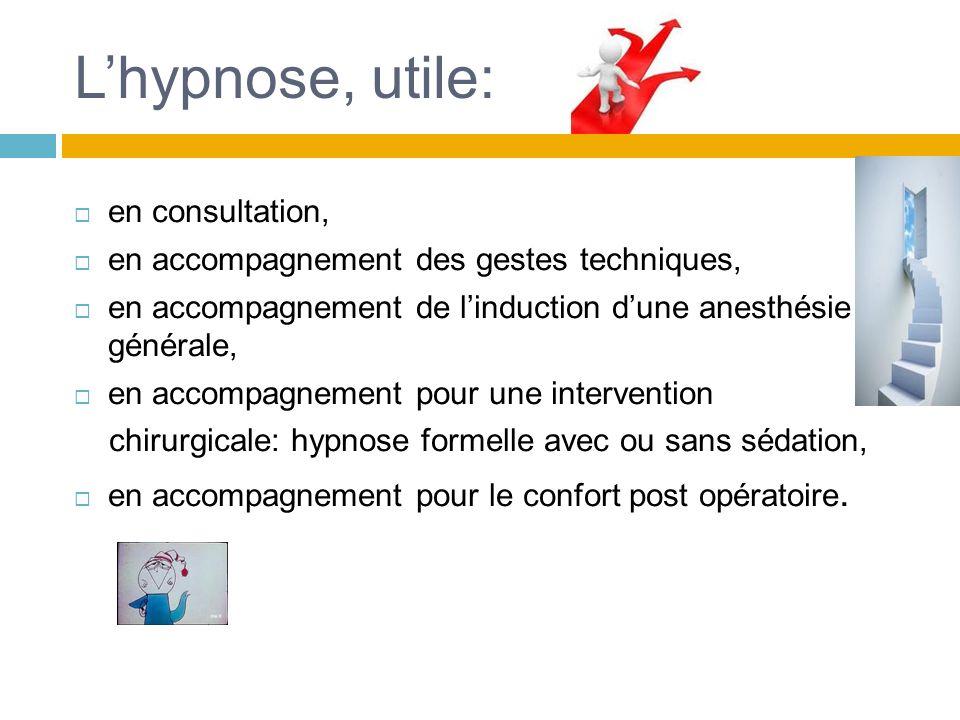 L'hypnose, utile: en consultation,
