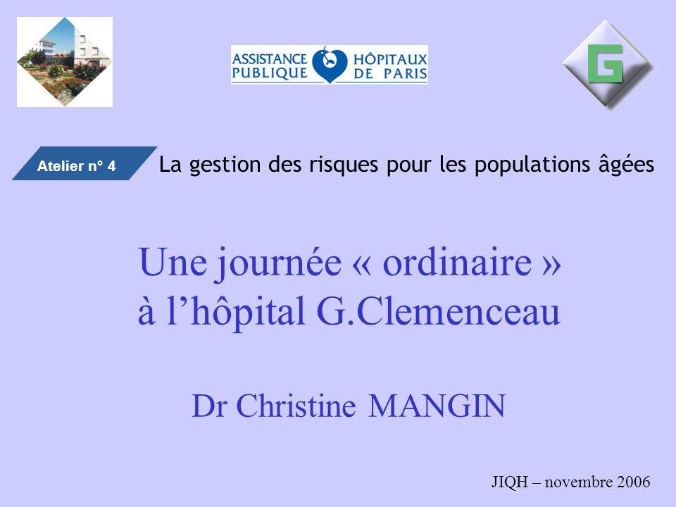 Une journée « ordinaire » à l'hôpital G.Clemenceau Dr Christine MANGIN