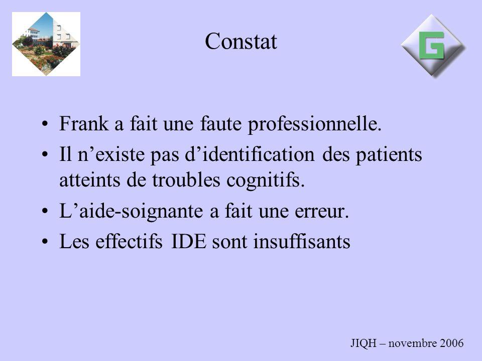 Constat Frank a fait une faute professionnelle.