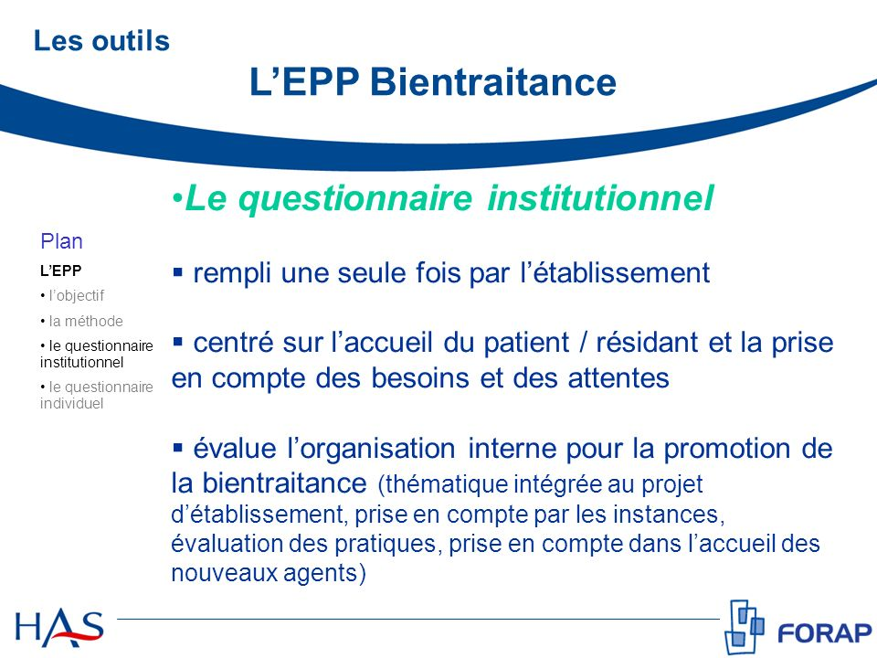 Le questionnaire institutionnel