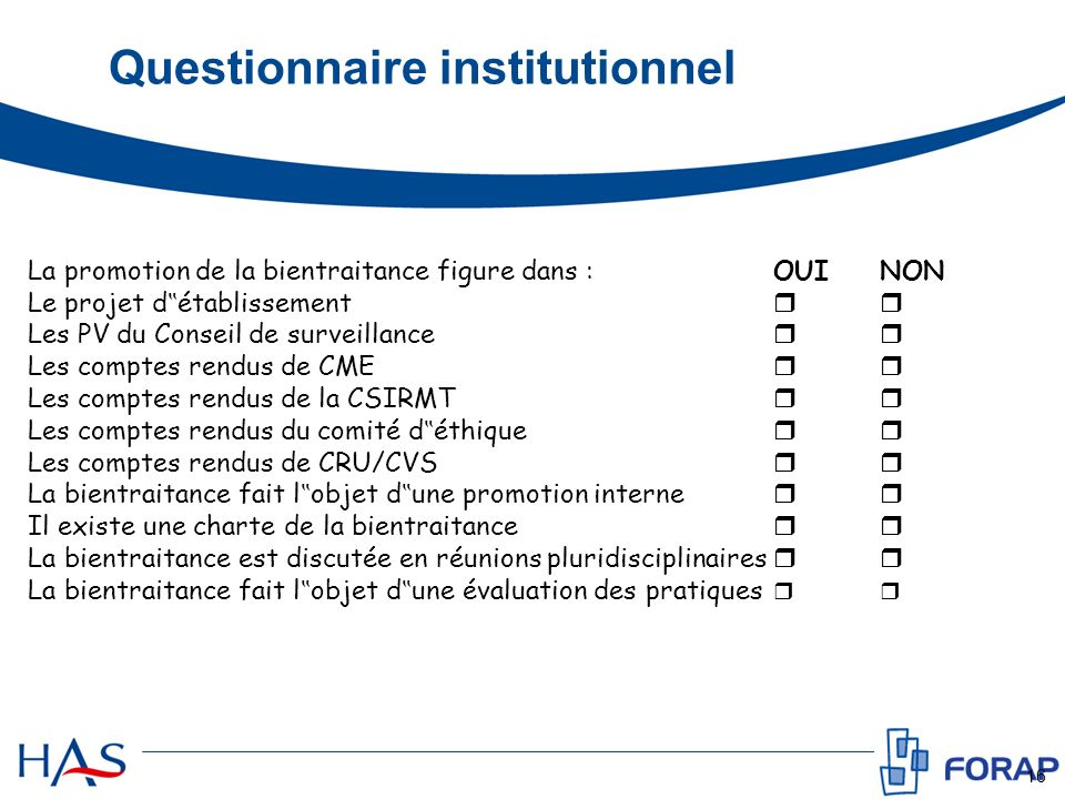 Questionnaire institutionnel
