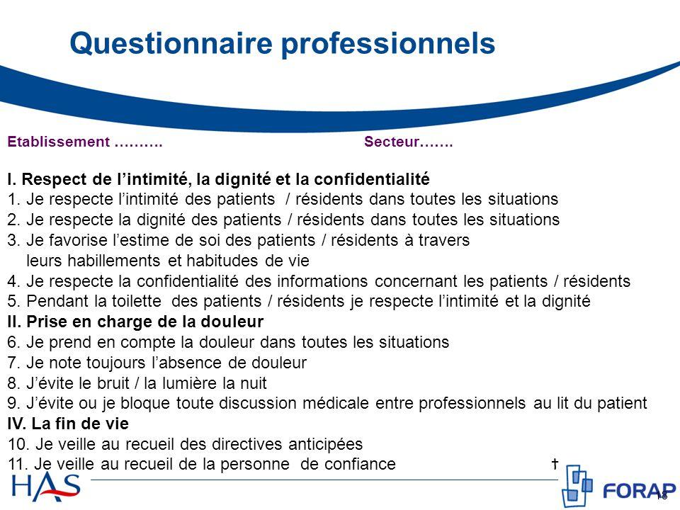 Questionnaire professionnels