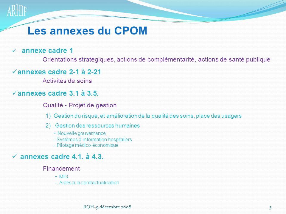Les annexes du CPOM annexes cadre 2-1 à 2-21 Activités de soins