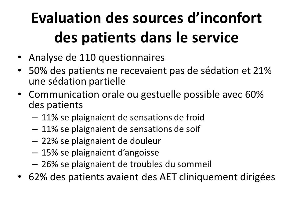 Evaluation des sources d'inconfort des patients dans le service