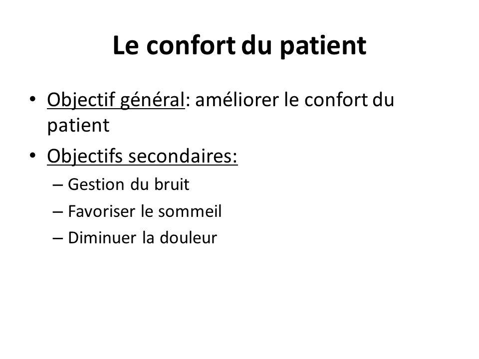 Le confort du patient Objectif général: améliorer le confort du patient. Objectifs secondaires: Gestion du bruit.