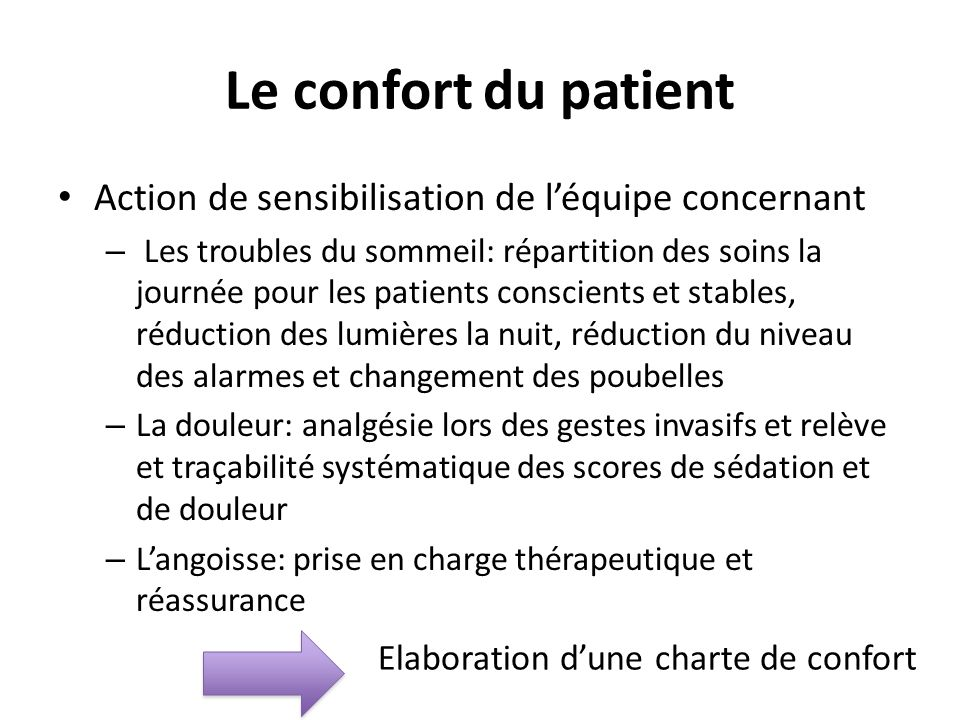 Le confort du patient Action de sensibilisation de l'équipe concernant