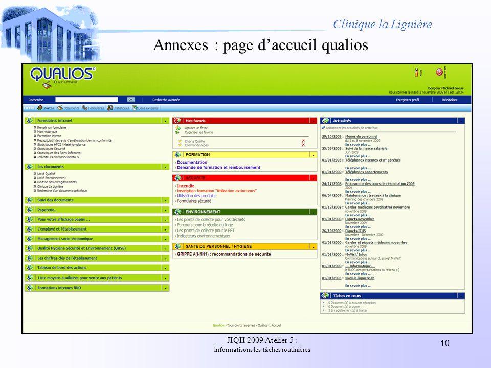 Annexes : page d'accueil qualios