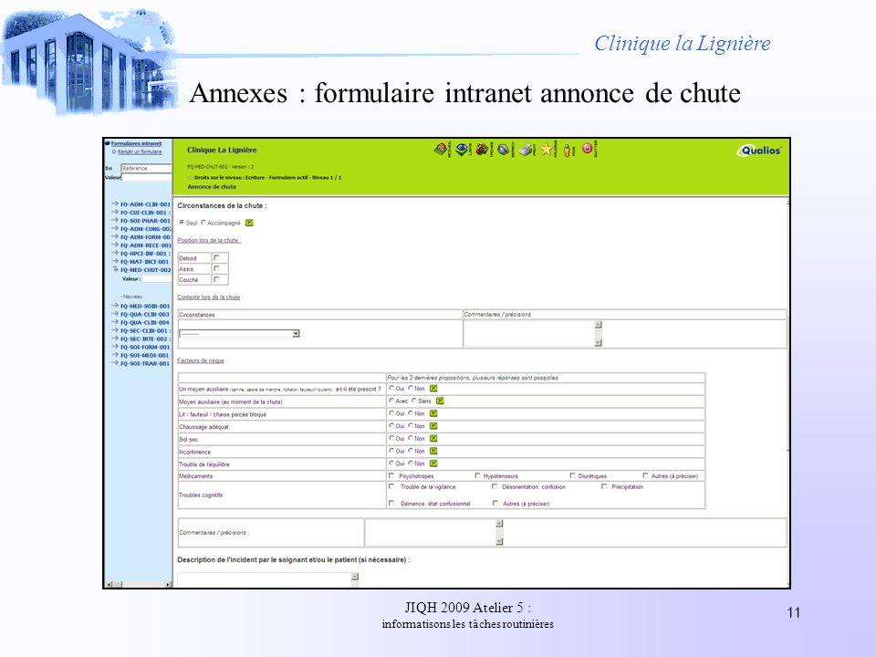 Annexes : formulaire intranet annonce de chute