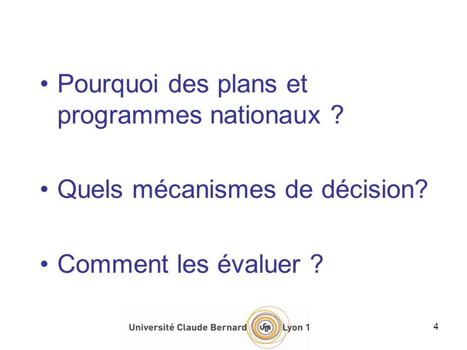 Pourquoi des plans et programmes nationaux