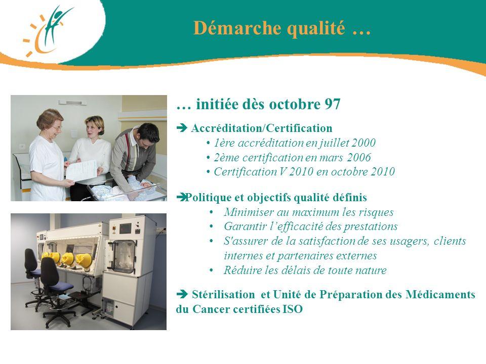 Démarche qualité … … initiée dès octobre 97