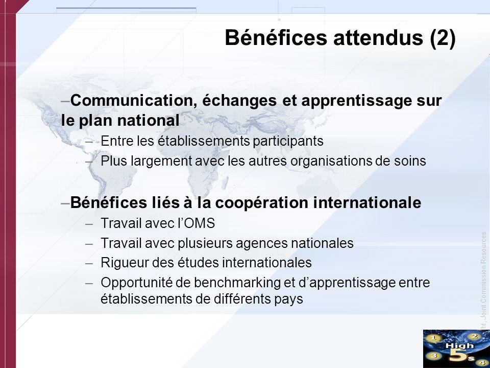 Bénéfices attendus (2) Communication, échanges et apprentissage sur le plan national. Entre les établissements participants.