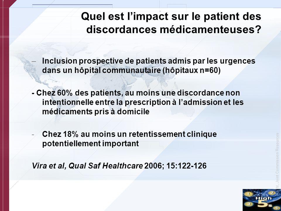 Quel est l'impact sur le patient des discordances médicamenteuses