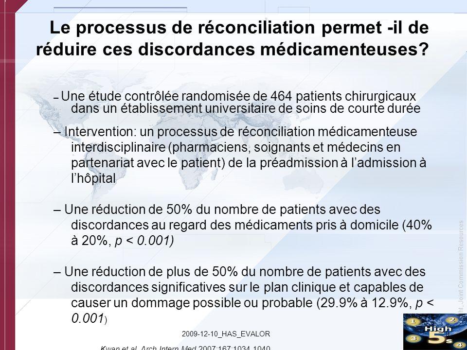 Le processus de réconciliation permet -il de réduire ces discordances médicamenteuses