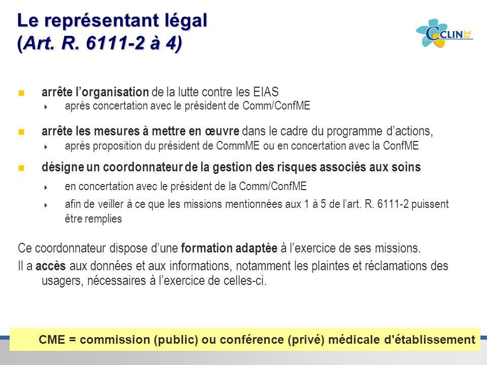 Le représentant légal (Art. R. 6111-2 à 4)