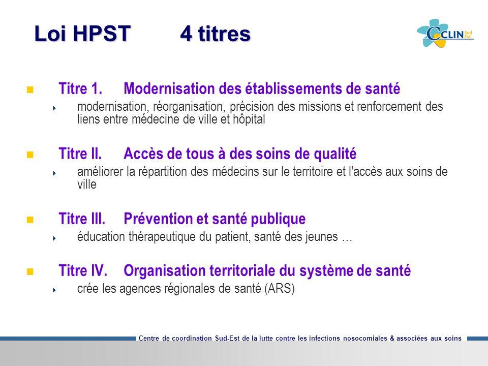Loi HPST 4 titres Titre 1. Modernisation des établissements de santé