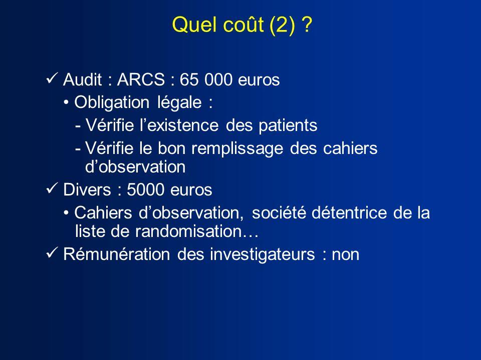 Quel coût (2) Audit : ARCS : 65 000 euros • Obligation légale :