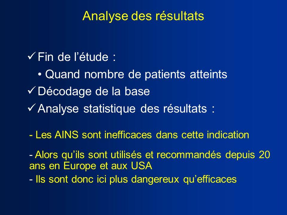 Analyse des résultats Fin de l'étude :