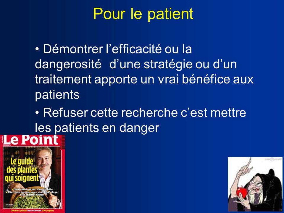 Pour le patient • Démontrer l'efficacité ou la dangerosité d'une stratégie ou d'un traitement apporte un vrai bénéfice aux patients.