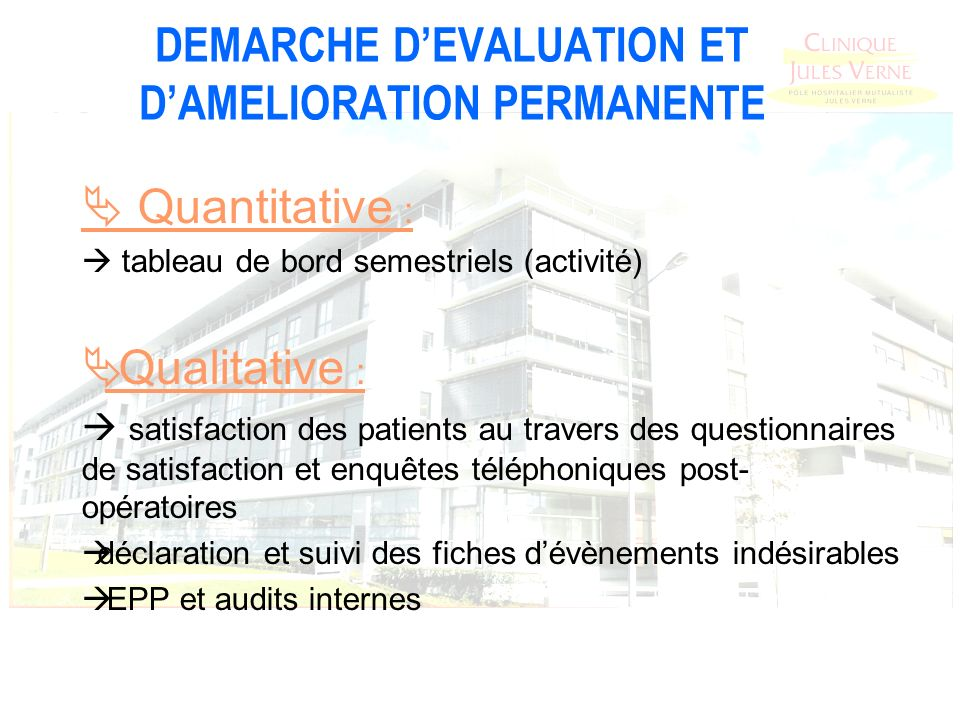 DEMARCHE D'EVALUATION ET D'AMELIORATION PERMANENTE