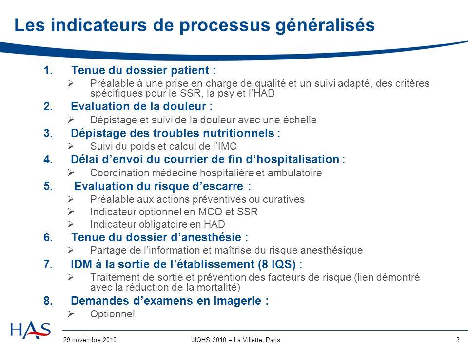 Les indicateurs de processus généralisés