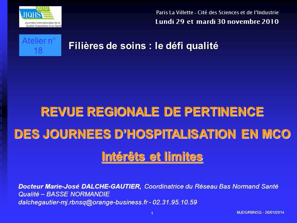 REVUE REGIONALE DE PERTINENCE DES JOURNEES D'HOSPITALISATION EN MCO