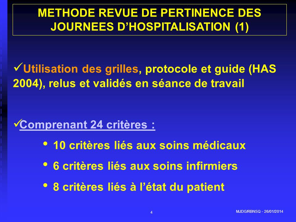 METHODE REVUE DE PERTINENCE DES JOURNEES D'HOSPITALISATION (1)