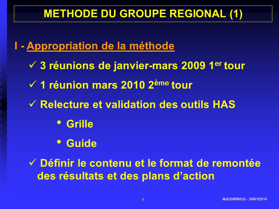 METHODE DU GROUPE REGIONAL (1)
