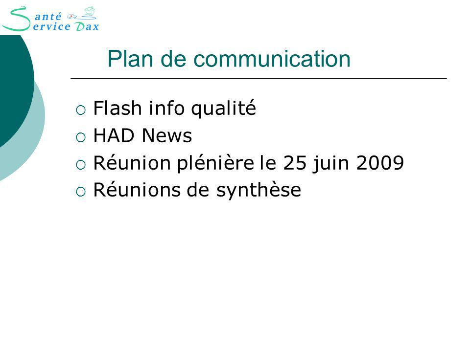 Plan de communication Flash info qualité HAD News
