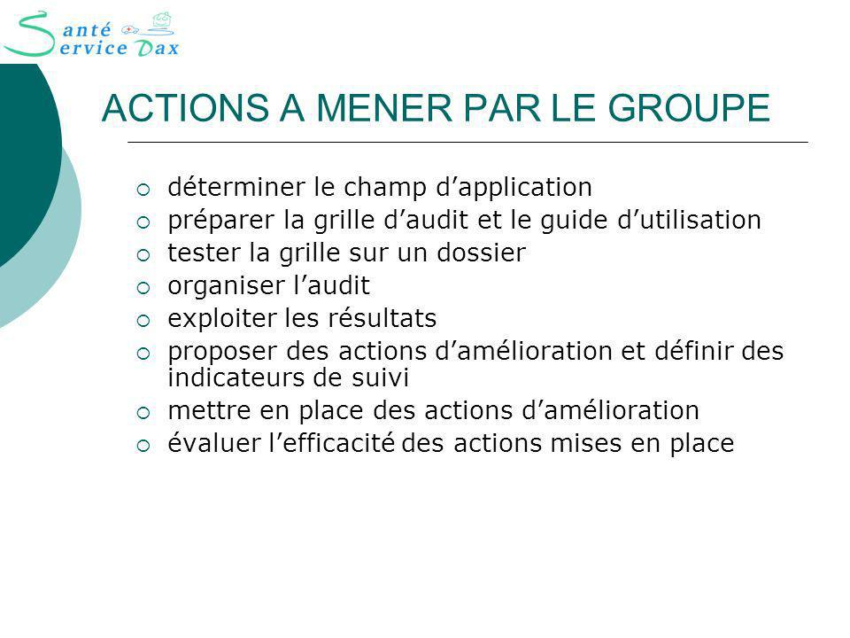 ACTIONS A MENER PAR LE GROUPE