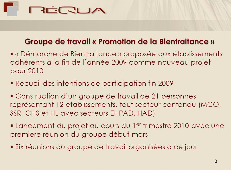 Groupe de travail « Promotion de la Bientraitance »