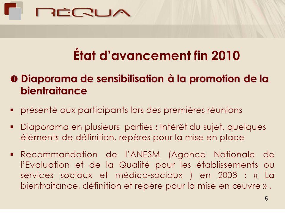 État d'avancement fin 2010  Diaporama de sensibilisation à la promotion de la bientraitance. présenté aux participants lors des premières réunions.