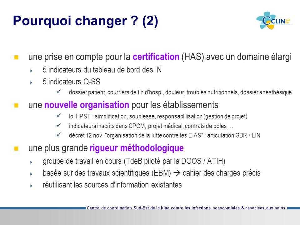 Pourquoi changer (2) une prise en compte pour la certification (HAS) avec un domaine élargi. 5 indicateurs du tableau de bord des IN.