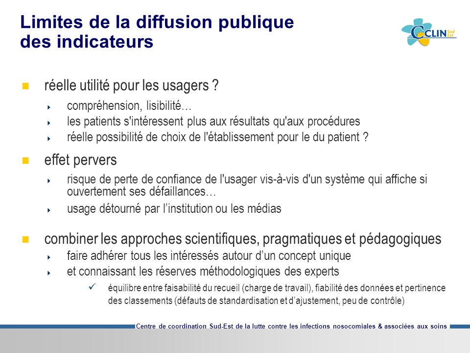 Limites de la diffusion publique des indicateurs