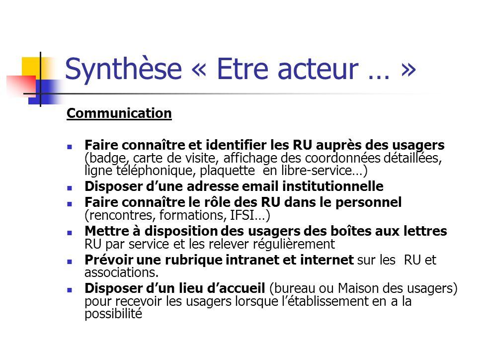 Synthèse « Etre acteur … »