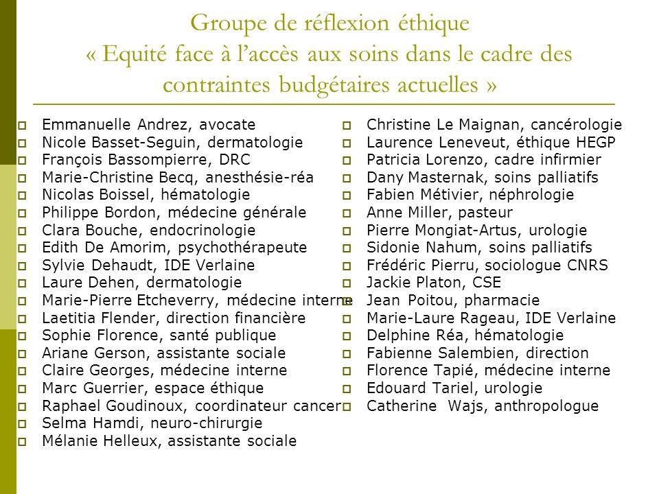 Groupe de réflexion éthique « Equité face à l'accès aux soins dans le cadre des contraintes budgétaires actuelles »