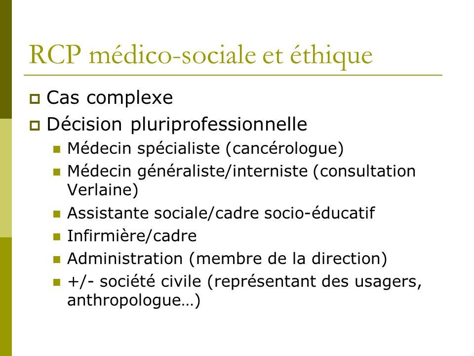 RCP médico-sociale et éthique