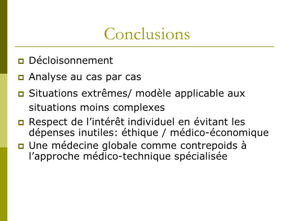Conclusions Décloisonnement Analyse au cas par cas