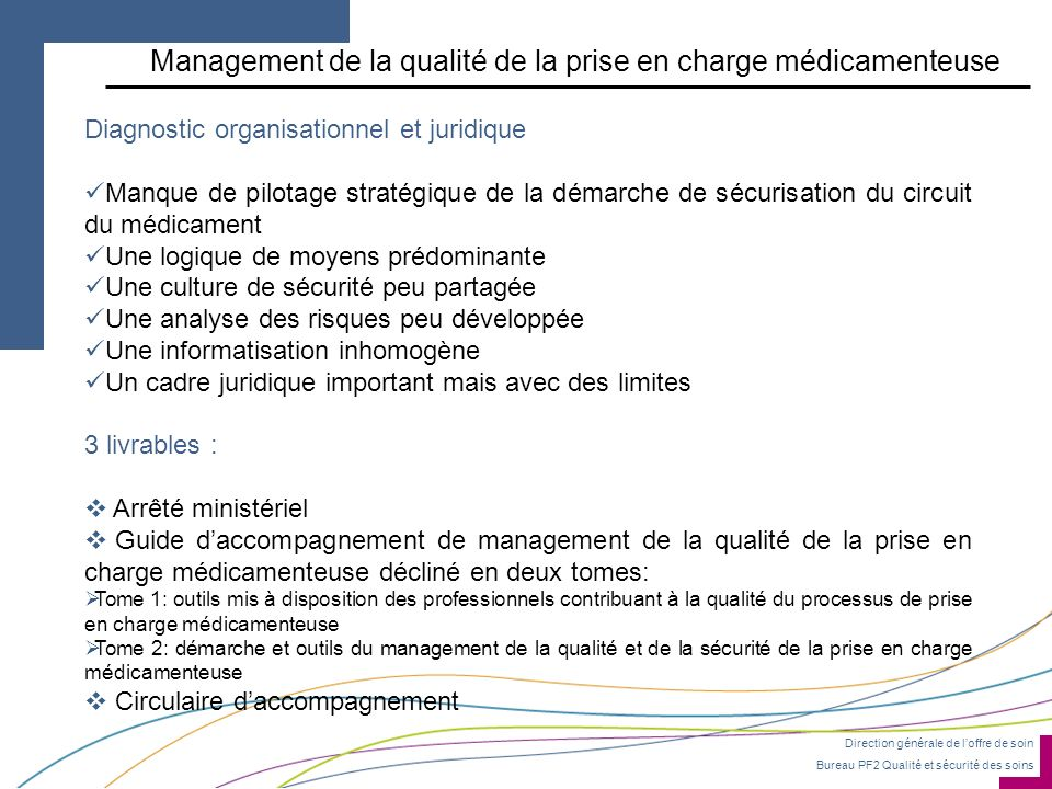 Management de la qualité de la prise en charge médicamenteuse