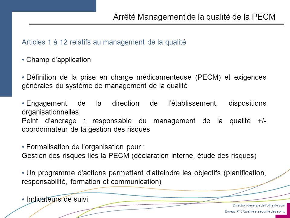 Arrêté Management de la qualité de la PECM